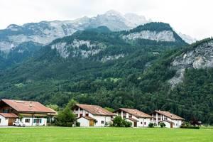 White houses in the Meiringen valley, Switzerland