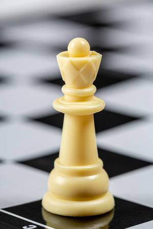 White Queen on the background of an empty chessboard (Flip 2019)
