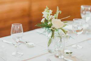 White Rose Decor On Glass Vase (Flip 2019)