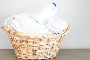 White Towels in Laundry Basket