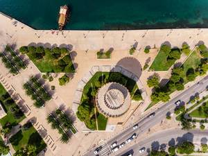 White Tower of Thessaloniki photographed from above