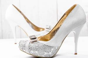 White wedding shoes with heels
