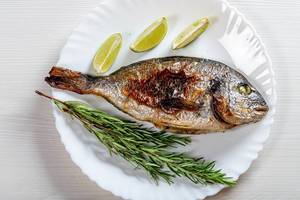 Whole baked Dorado fish on a white plate with fresh rosemary and lime slices (Flip 2019)