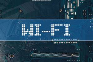 WI-FI text over electronic circuit board background