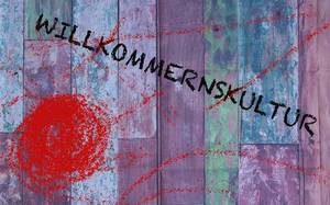 Willkommenskultur: colourful artwork highlighting German concept of a welcoming culture towards foreigners