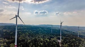 Wind power stations part of the new wind farm Straubenhardt