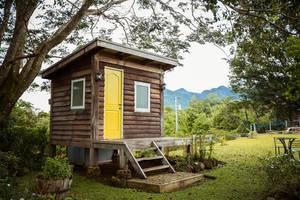 Winziges, leicht erhöht gebautes Holzhäuschen mit Türe und zwei Fenstern unter Baum