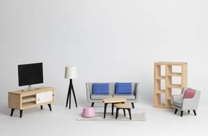 Wohnzimmereinrichtung mit Modelmöbeln im skandinavischen Stil auf weißem Hintergrun