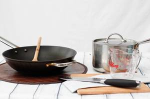 Wok and SaucePan  on a White Background