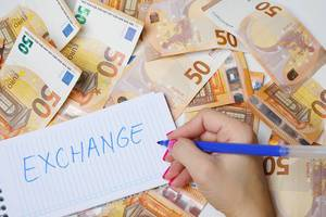 Woman hand writing Exchange, 50 Euro banknotes background