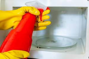 Woman hands in rubber gloves washing microwave (Flip 2019)