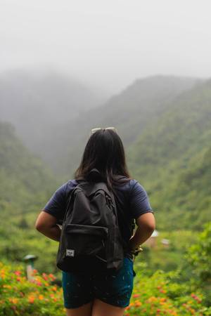Woman looking at the beautiful view in Patag (Flip 2019)