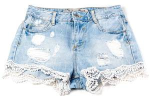 Women jeans shorts on white background