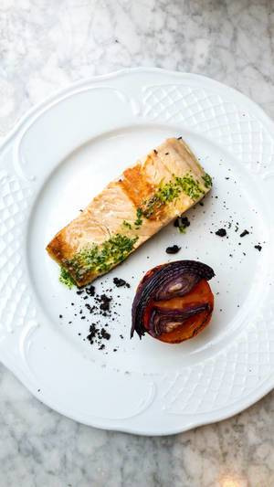 Wonderfully garnished salmon filet