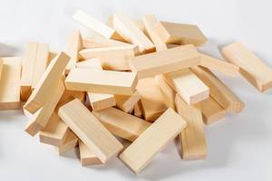 Wood blocks game, Jenga on white background