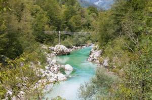 Wooden bridge over river Soča, Slovenia