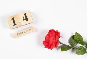 Wooden calendar show of February 14