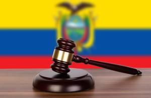 Wooden gavel and flag of Ecuador