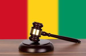 Wooden gavel and flag of Guinea