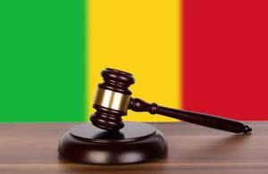 Wooden gavel and flag of Mali