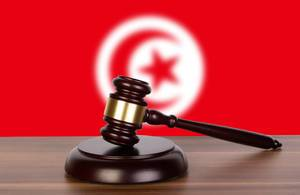 Wooden gavel and flag of Tunisia