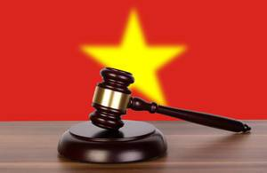 Wooden gavel and flag of Vietnam
