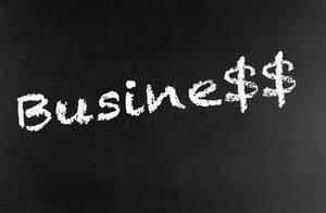 Word business written on a blackboard