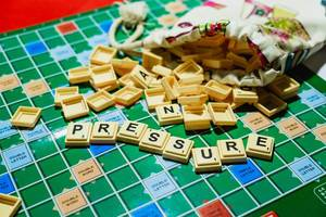 "Word ""Pressure"" on spilled scrabble from pouch"