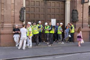 Workers during smoke break