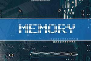 Wort Memory vor einer elektronischen Leiterplatte als Hintergrund