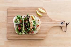 Würzig-feurige Halloumi-Tacos von Hellofresh. Vogelperspektive