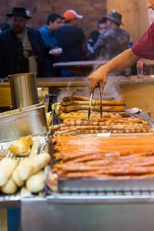 XXL bratwurst in oven-fresh baguette