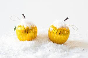 Yellow apples covered with snow