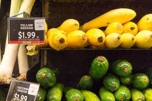 Yellow squash and zucchini squash at the supermarket