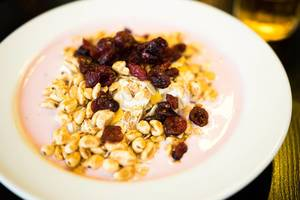Yogurt and granola breakfast plate