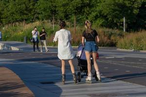 Young Russian women with rollerblades