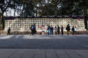 Yoyogi Park: a wall of empty sake barrels in neatly stacked