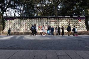 Yoyogi Park: a wall of empty sake barrels in neatly stacked