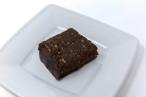 Yummy Scrummy - Raw Chocolate Brownie on white plate
