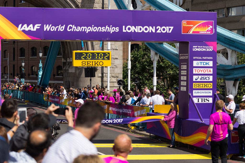 Zieleinlauf beim Marathon: AAF World Championchips London 2017