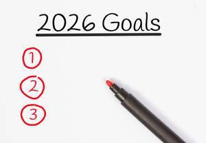 Zielsetzungen für 2026 mit rotem Filzstift