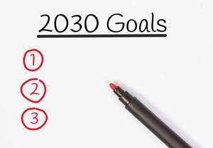 Zielsetzungen für 2030 mit rotem Filzstift