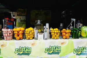 Zitrone, Orangen, Gurken und Melonen verkauft auf einem Limonadenstand auf die Straße