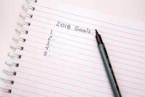 Zu erreichende Ziele im Jahr 2018 im Notizbuch aufgeschrieben