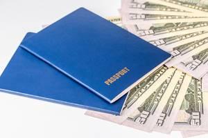 Zwei blaue Reisepässe und Ausweisdokumente auf amerikanischem Geld vor weißem Hintergrund